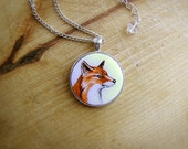Animal Pendant Necklace Red Fox Portrait watercolor original hand painting, for fox lovers, brown orange and white