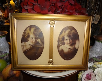 Cupid gilded double framed prints