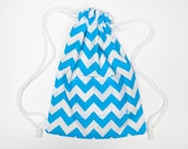 Kids Neon Lined Drawstring Bag | Drawstring Backpack | Gym Bag - Neon Blue Chevrons