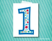 Birthday candle photo prop printable - number 1 boy