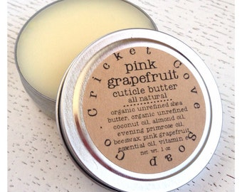 CUTICLE BUTTER - Pink Grapefruit Cuticle Butter - Stocking Stuffer - 1 oz  Cuticle Cream - All Natural - Reusable Tin
