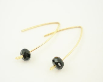14K Gold Filled and Faceted Black Jet Earrings / Simple Modern Jewelry / Minimalist / Stacy Earrings