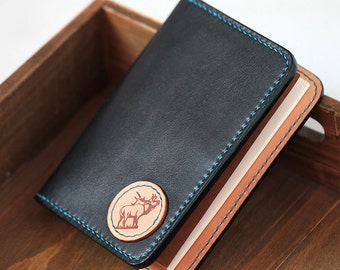 100% Hand-stitched Balck Vegetable Tanned Leather Wallet Passport Leather Holder
