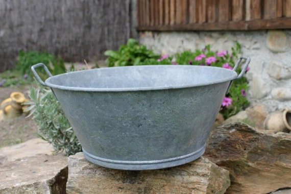 Basin Galvanized Vintage Bucket Zinc Wash Basin French