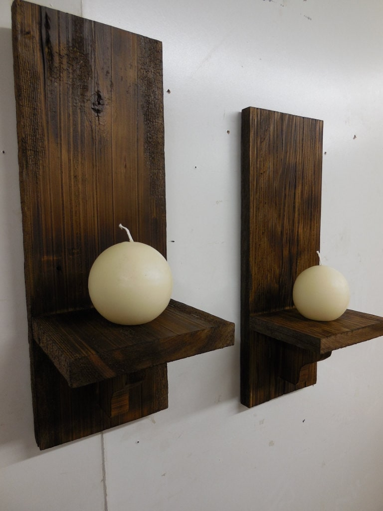 Rustic wall sconces primitive candle holderswooden sconces zoom amipublicfo Gallery