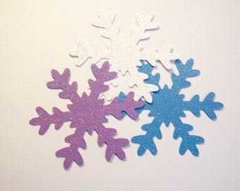 12 Glitter 3 inch Snowflakes Blue,Purple,White Snowflakes,Winter Onederland,Party Decor,Frozen,Christmas,Holiday Decor