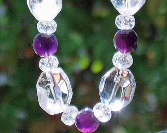 Crystal Quartz Amethyst Gemstone Necklace