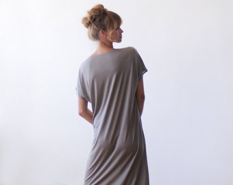 T-shirt taupe midi length dress, Short sleeves summer dress 1030