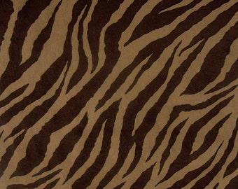 Cappuccino / Brown Cuddle Zebra Minky 58 Inch Wide Fabric By The Yard.