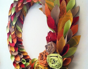 fall wreath - newspaper wreath - map wreath - tutorial - fall wreath, holiday wreath, painted newspaper wreath for any season