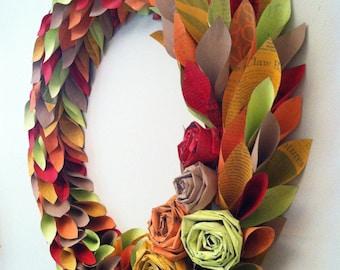 Fall wreath - newspaper wreath - map wreath - tutorial - fall wreath, holiday wreath, painted newspaper wreath for any season