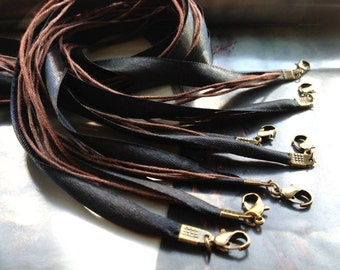 Antique Bronze--15pcs16-18inch adjustable black 10mm ribbon necklace cords with 1mm waxed cotton cord