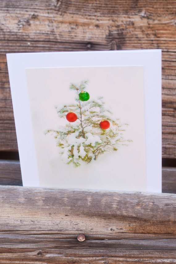 Charlie Brown tree, Christmas card, photographic, greeting card, green and red ornaments, blank, paper, vertical