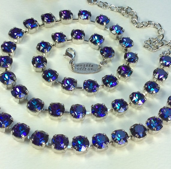 Swarovski Crystal 8.5mm Necklace  - Designer Inspired - Gorgeous  Multi- Hued Heliotrope  -FREE SHIPPING