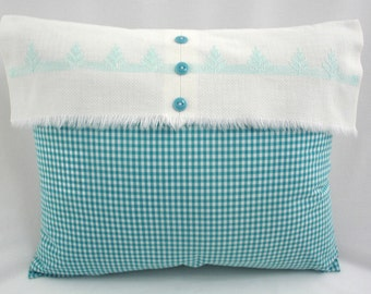 Gingham Check Pillow with Vintage Huck Towel Weaving Accent
