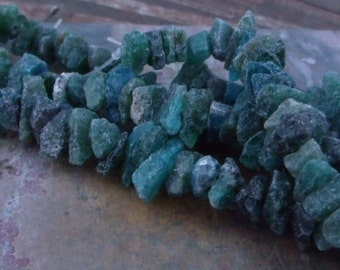 Half Strand - Blue Green Natural Small Rough Apatite Beads