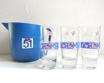 "Vintage French PASTIS 51 PITCHER, A Blue Plastic, Bistro Carafe with 3 Assorted Glasses, Series: "" Bodega ""."