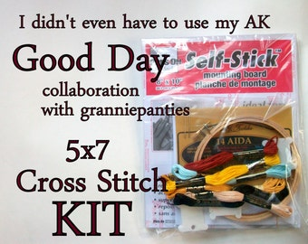 Cross Stitch KIT -- It was a good day 5x7, original granniepanties' pattern with all necessary materials