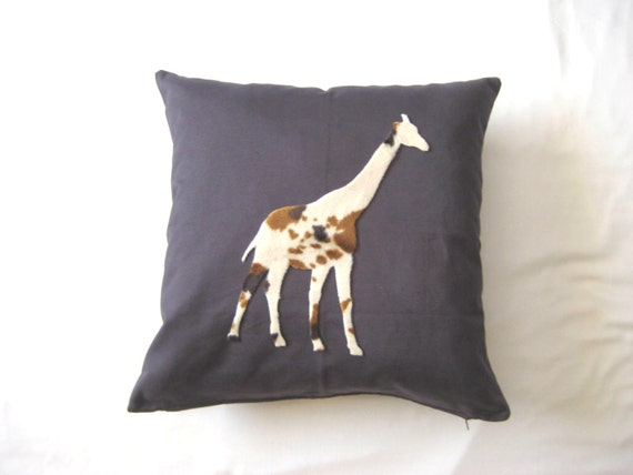 Animal Silhouette Pillow Covers : Giraffe pillow cover Animal silhouette Gray linen pillow