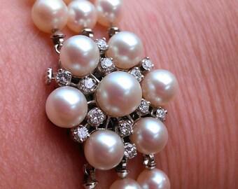 Gorgeous 14k Gold 1ct Diamond Pearl Bracelet