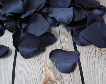 Heart shaped NAVY satin rose petals blend - wedding, anniversary, or romantic date night, artificial blue flower petals, ready to ship