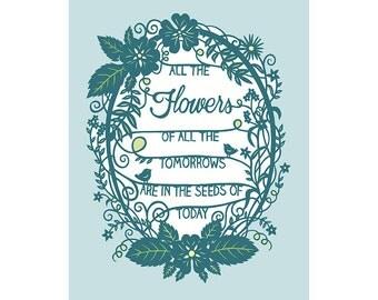 8x10 Papercut Illustration Print - Tomorrow's Flowers - Inspirational Quote