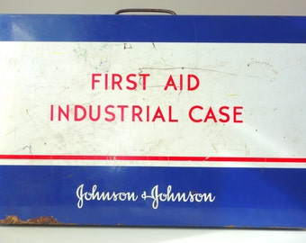 Vintage Industrial First Aid Kit with Contents- 34 Piece Johnson & Johnson Red Cross