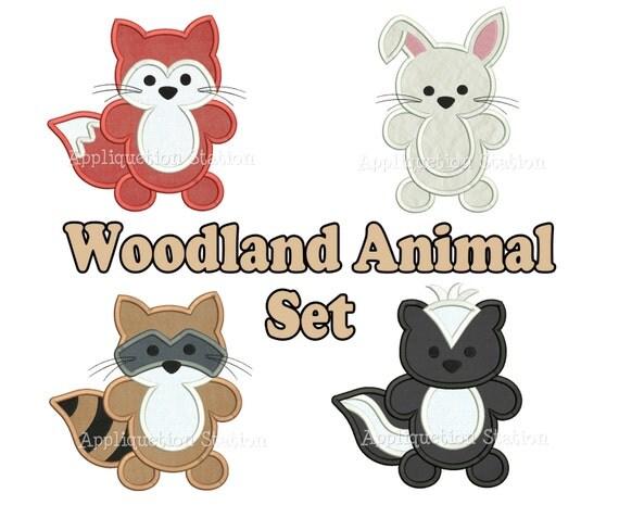 Woodland Animal Set Applique Machine Embroidery Design Pattern