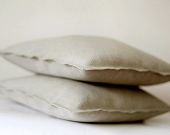 Linen pillow covers - natural linen decorative decorative pillows cases - throw pillows - shams - set of 2     0061