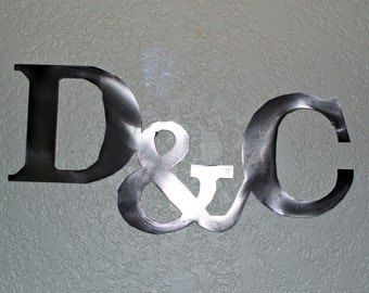 """Custom Metal Letters with """"&"""" sign- wall art, metal sign, decor for wedding, engagement or valentine's day"""