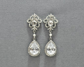Pearl Crystal Teardrop Bridal Earrings, Wedding Jewelry, Pearl and Rhinestone Bridal Wedding Earrings, Statement Chandelier Earrings