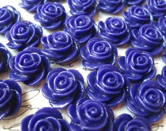 Resin Flower Cabochons, 10 pcs 15mm Royal Purple Resin Roses, Pefect for DIY Jewelry Projects, Hair Accessories