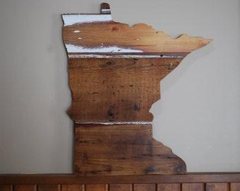 Minnesota State Barnwood Sign Home Decor Wedding Prop