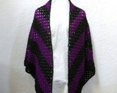 Crochet Granny Square Shawl Black and Violet Purple
