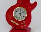 Apple Red Replica Gibson 335 Electric Guitar Desk Clock  Solid Wood Road Worn Edging  FREE DOMESTIC SHIPPING