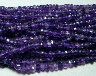 Dark Purple Amethyst Hand Faceted Rondelle Beads Whole Strand 3mm to 4mm
