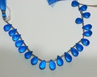Hawaiian Ocean Blue Apatite Quartz Micro Faceted Teardrop Beads 11mm - 13mm