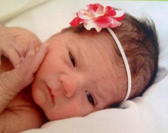 Small pink and ivory rose headband, baby girl headband, photo prop