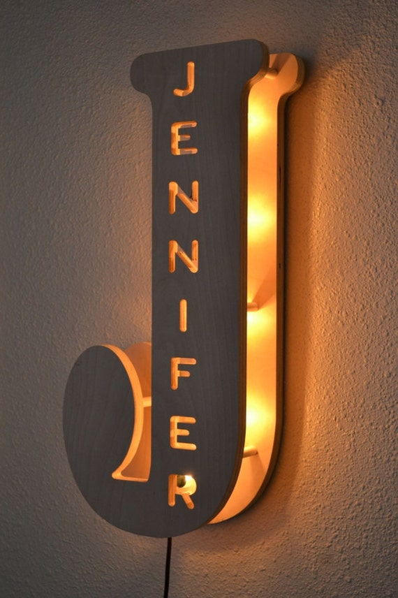 Kid bedroom lamp personalized name sign marquee lights for Bedroom night light