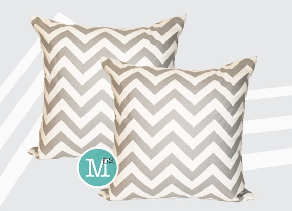 Grey Chevron Pillow Covers - Many Sizes Lumbar, 12, 14, 16 - Zipper Closure- dc246l