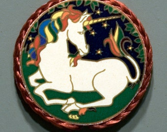 Unicorn magnet made using Illuminations vintage sticker, 1980's