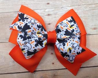 4 inch double pinwheel Halloween hair bow - Halloween bow, ghost bow