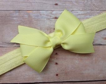 Light yellow baby headband  - light yellow bow headband, baby headband, newborn headband, baby bow headband, baby girl headband