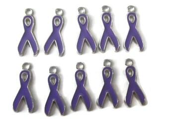 Purple Enamel Awareness Ribbon Charms - 9 Charms (054)