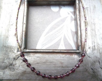 Sale Now 10.50 Euros Seed Bead Necklace English Cut Glass Beaded Necklace Amethyst Glass Amethyst Garnet Colour Dainty Layering Necklace