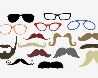 Glasses Mustache DIY Photo Booth Props printable wedding or party photobooth moustaches