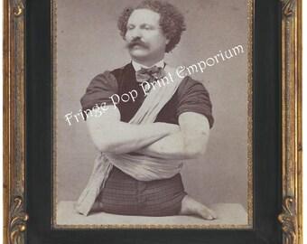 Victorian Sideshow Circus Freak Art Print 8 x 10 - Eli Bowen - Legless Wonder