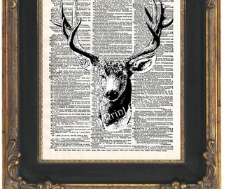 Deer Taxidermy Art Print 8 x 10 on Dictionary Page - Altered Art Collage Buck Head Antlers