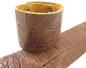 """Cognac Gator Tail Leather Cuff Bracelet 2"""" Wide, #57-85251503"""