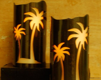 Palm Trees -1118 - Metal Candle Holder Luminary